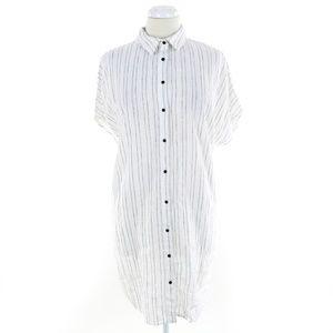 Zara Basic Button Down Tunic Long Shirt Cap Sleeve